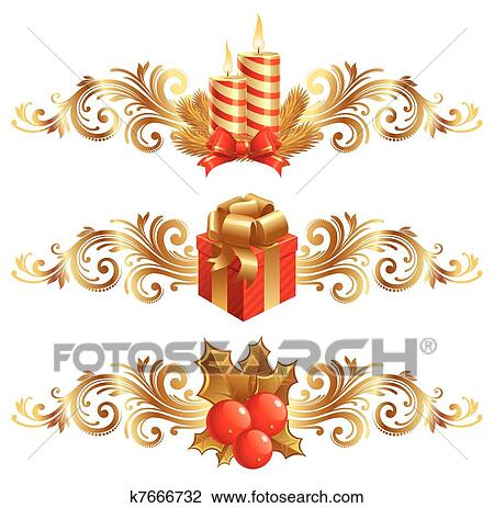 clipart vektor weihnachten symbole verziehrung k7666732 suche clip art illustration. Black Bedroom Furniture Sets. Home Design Ideas