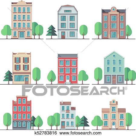 Clip Art - retro, ciudad, houses., vendimia, edificios de ...