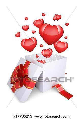 Rouges Cœurs Mouche Dehors De Une Ouvert Boite Cadeau