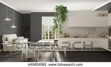Scandinavian White Minimalist Living With Kitchen Open Space One Room Apartment Modern Interior Design Stock Illustration K45604065 Fotosearch