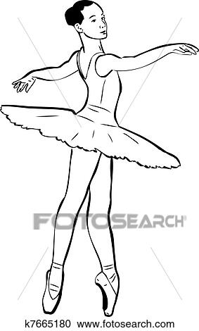 Sketch Of Girls Ballerina In Tutu And Pointe Clipart