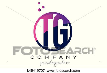 Tg T G Circle Letter Logo Design With Purple Dots Bubbles Clip Art
