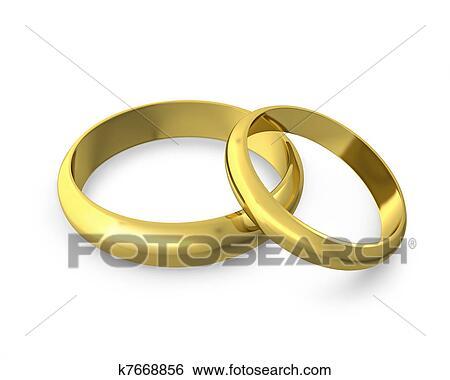 Stock Illustration Zwei Goldene Hochzeit Ringe K7668856 Suche