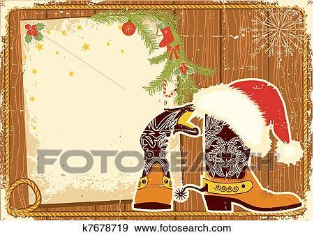 Billboard, quadro, com, carregadores vaqueiro, e, santa, chapéu vermelho,  ligado, madeira, wall  vector, natal, fundo, para, texto Clipart
