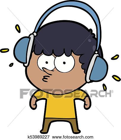 Listening to Headphones Clip Art
