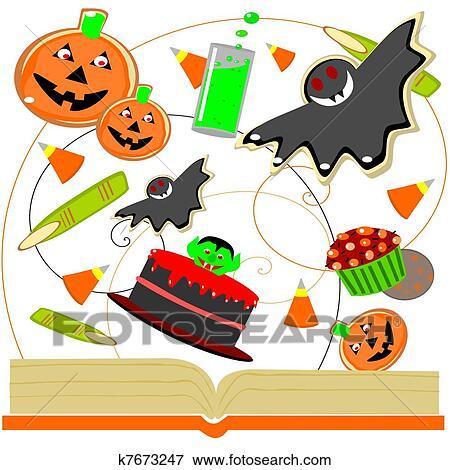 Halloween Livre Cuisine Clipart