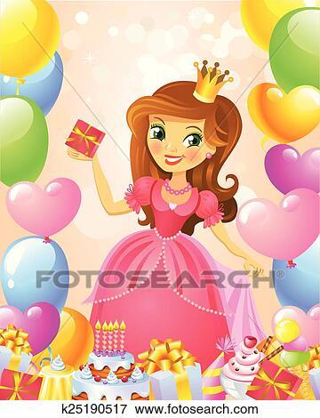 Joyeux Anniversaire Princesse Salutation Card Clipart K25190517 Fotosearch