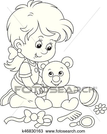 Little Girl And Teddy Bear Clipart