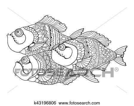 Clip Art - piranha, ausmalbilder, für, erwachsene, vektor k43196806 ...