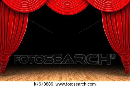 Stock Bilder Rot Samt Vorhang öffnung Szene K7673886 Suche