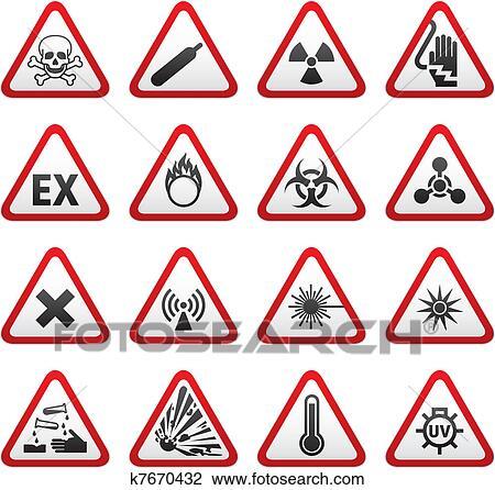clipart of set triangular warning hazard sign k7670432 search clip