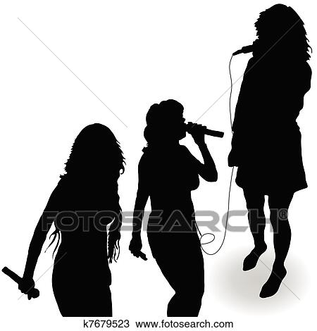 clipart of singing girl with a microphone black silhouette k7679523 rh fotosearch com