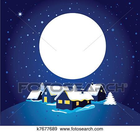 Clip Art - weihnachtskarte, mit, nacht, stadt, und, schnee k7677689 ...
