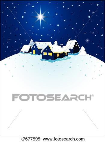 Clipart - weihnachtskarte, mit, nacht, stadt, und, schnee k7677595 ...