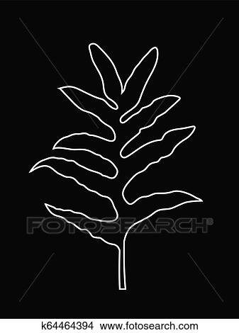 White Line Art Of Fern Leaf Tropical Jungle Leaves Outline Leaves Vector Illustration White Color On Black Background Clipart K64464394 Fotosearch Vector leaf, outline drawing in vintage style. white line art of fern leaf tropical