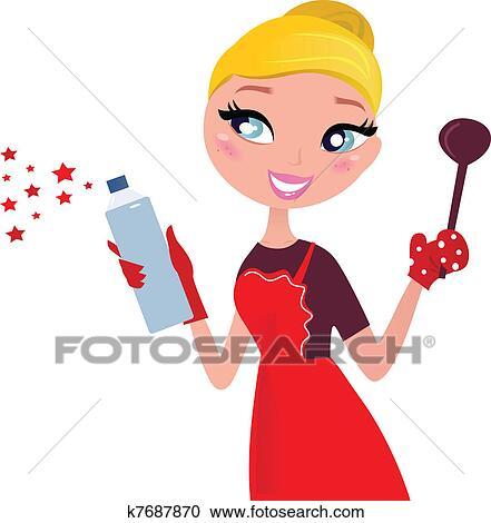 かわいい クリスマス 料理 清掃 主婦 レトロ クリップアート