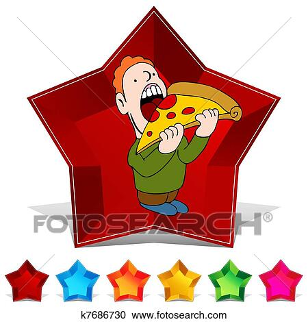 ピザ 食べる人 宝石 ボタン セット クリップアート切り張り