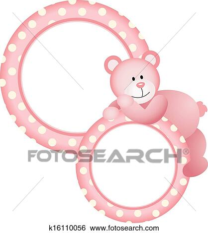 Clip Art of Baby girl round frame teddy bear k16110056 - Search ...