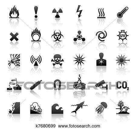Clip Art Of Black Symbols Danger Icons K7680699 Search Clipart