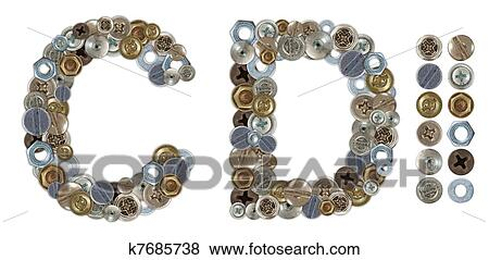 Picture - Characters C and D made of nuts and bolts head. Fotosearch - Search