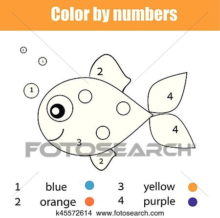 coloring page with fish character color by numbers educational children game drawing kids activity clipart k45572614 fotosearch https www fotosearch com csp768 k45572614
