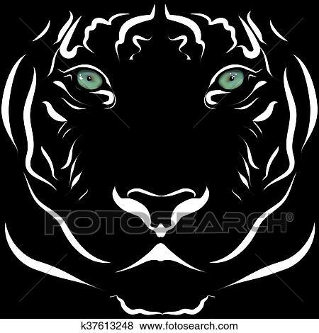 Clipart Realiste Tete Tigre Image Noir Blanc A Vif Eyes