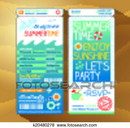 Clip Art Of Summertime Holiday Party Boarding Pass Background