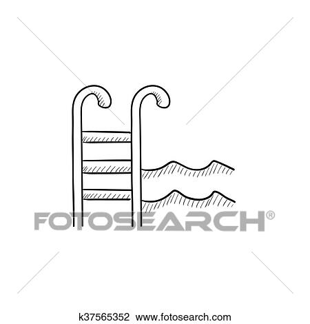 clipart of swimming pool with ladder sketch icon k37565352 search