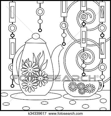 Colección de ilustraciones - té, plano de fondo, con, taza, olla, y ...