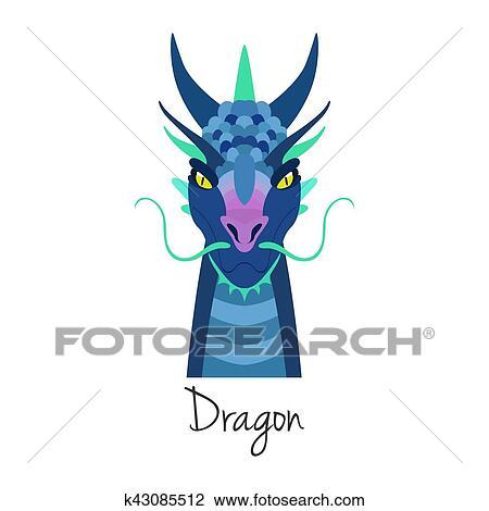 Clipart - vector, azul, dragón, cara, isolated., animal, de, chino ...