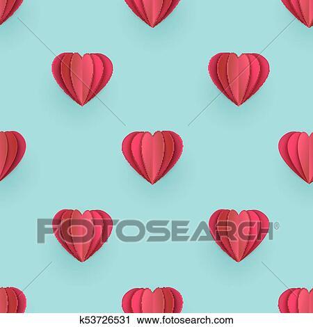 Clipart - vector, valentines, origami, corazón, seamless, patrón ...