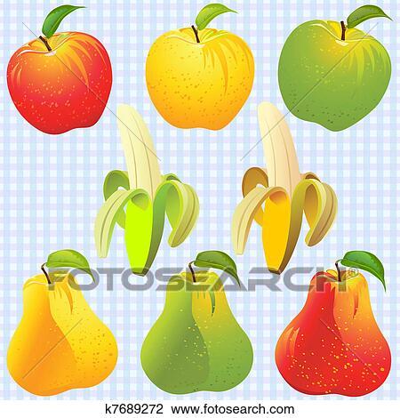 Clipart Vektor Fruits Apfel Birne Banane Von Verschieden