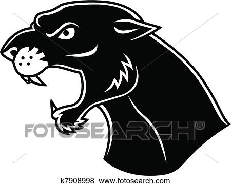 clip art of black panther head k7908998 search clipart rh fotosearch com Panther Face Clip Art Panther Face Clip Art
