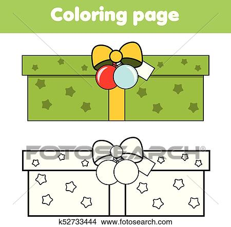 Christmas Gift Box Drawing.Coloring Page With New Year Gift Box Drawing Kids Game Printable Activity Christmas Theme Clipart