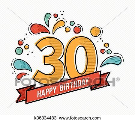 Clipart Colorito Buon Compleanno Numero 30 Linea Fissa Disegno
