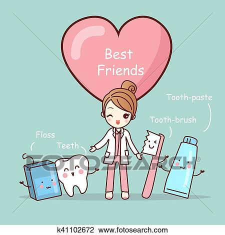 Cute Cartoon Tooth Best Friends Clipart K41102672 Fotosearch