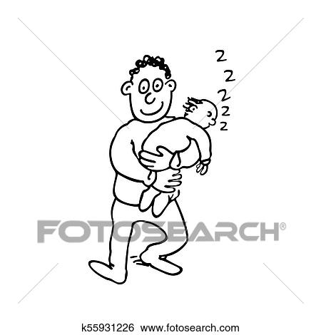 Dad Is Holding His Sleeping Baby Clip Art