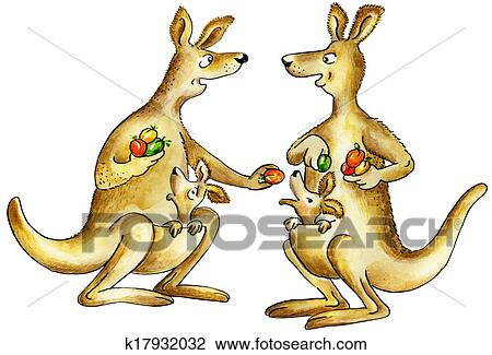 clip art of kangaroos mothers chattering k17932032 search clipart