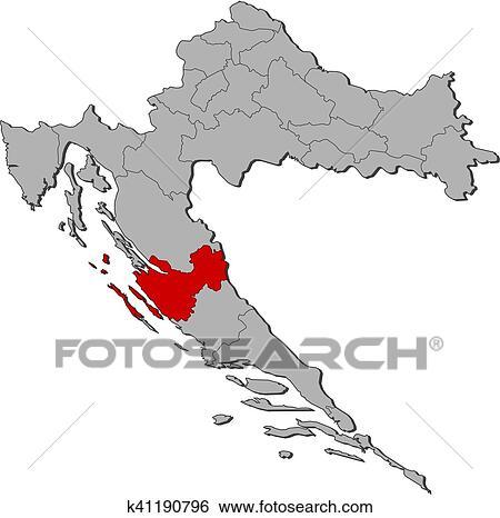 Clip Art of Map - Croatia, Zadar k41190796 - Search Clipart ...