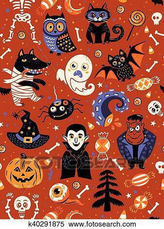 Mignon Halloween Seamless Modèle à Dessin Animé Caractères Clipart