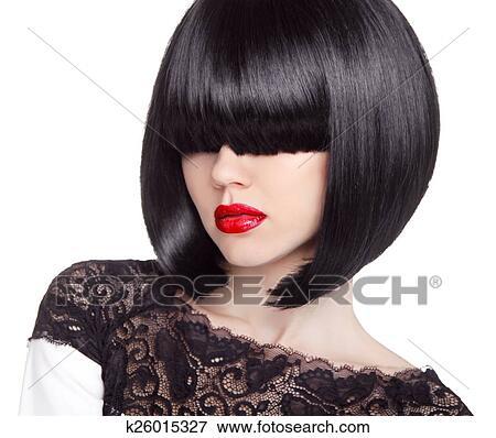 Mode Bob Haircut Hairstyle Lang Fringe Kort Haar Style B Stock Foto