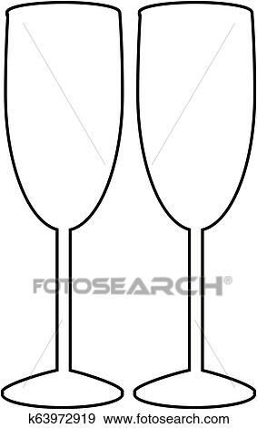 edaba4c73f8 Black outline silhouette of couple champagne or wine glasses on white  background. Cheers icon. Fragile or packaging glass symbol, sign, clipart.