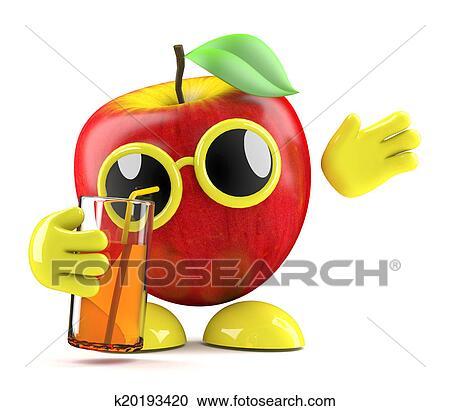 3d Apple Drinks Clipart K20193420 Fotosearch
