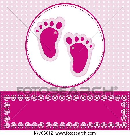 Clip Art Of Baby Girl Greeting Card With Foot Steps K7706012