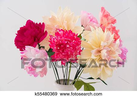 Crepe Paper Flower Bouquet Stock Photo