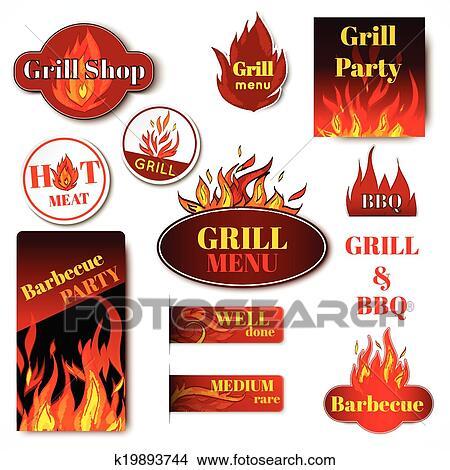 clipart of fire label grill k19893744 search clip art