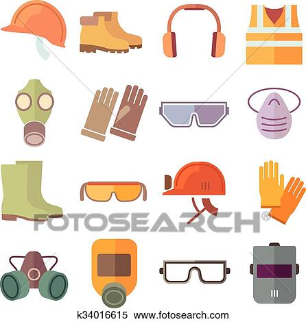 clipart of flat job safety equipment vector icons set k34016615