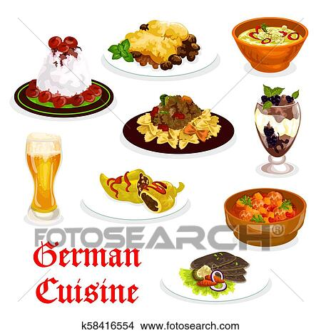 German cuisine traditional food for lunch icon Clipart ...