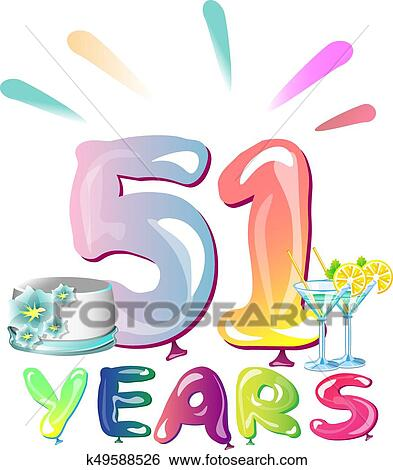 Anniversario Matrimonio 51 Anni.Happy Birthday Fifty One 51 Year Clip Art K49588526 Fotosearch