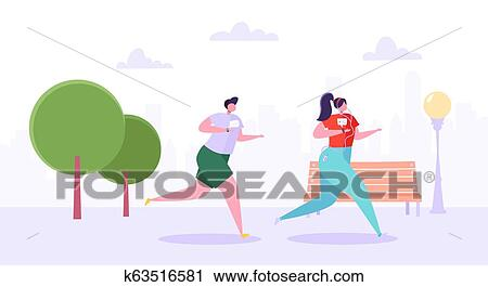Man And Woman Characters Running In The Park Happy Active People Jogging Couple Running Marathon Healthy Lifestyle Fitness In The City Vector